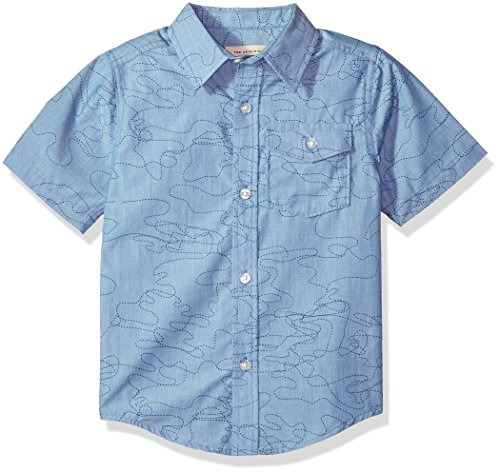 Lucky Brand Big Boys' Short Sleeve Chambray Button Down Shirt, Misty Chambray, Large (14/16) by Lucky Brand
