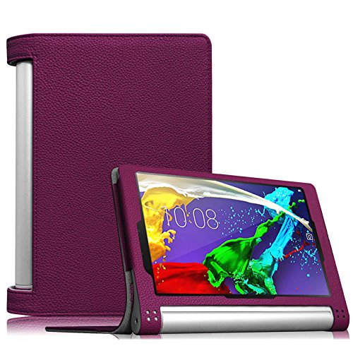 Fintie Lenovo Yoga Tablet 2 (8 Zoll) Hülle Case Cover Tasche Etui - Folio Kunstleder Schutzhülle mit Auto Sleep / Wake (geeignet für Lenovo Yoga Tablet 2-8 20,32 cm 8.0 Zoll Tablet-PC Android und Windows Version), Lila