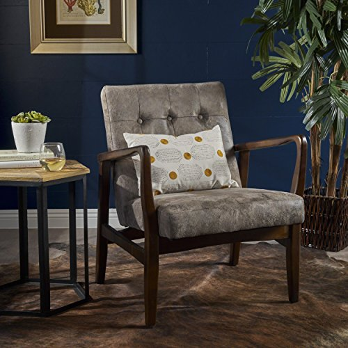 Christopher Knight Home 302418 Callahan Mid Century Modern Greyish Brown Microfiber Club Chair, ()