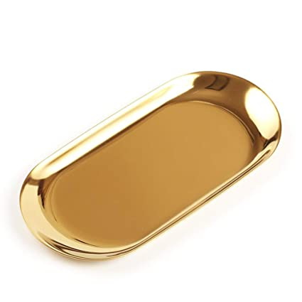Acero Inoxidable cosméticos joyería Almacenamiento Organizador Caja con Forma de Bandeja Plato para Maquillaje Perfume, Oval, Dorado, Small
