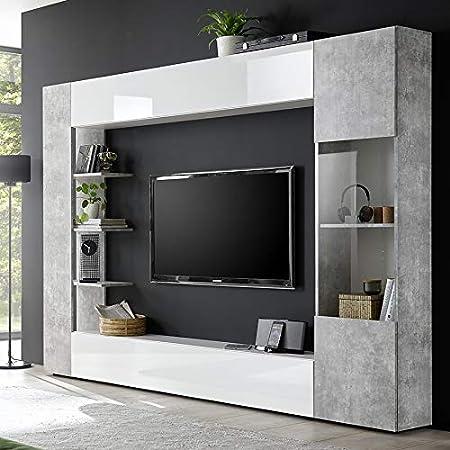 Kasalinea Soprano 2 - Mueble para televisor de Pared, Color Blanco y hormigón: Amazon.es: Hogar