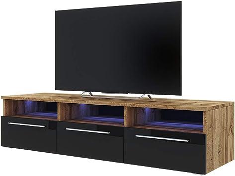 Selsey LAVELLO - Mueble TV con LED/Mesa TV Estilo Nórdico/Mueble para Salón / 140 cm (Marrón Dorado/Negro Brillante): Amazon.es: Electrónica