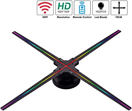 Aibecy Proyector de holograma 3D Ventilador WiFi Pantalla de luz ...