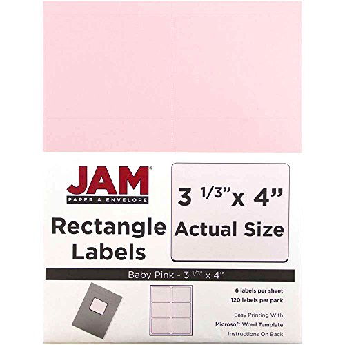 JAM PAPER Shipping Address Labels - Large - 3 1/3 x 4 - Baby Pink - 120/Pack