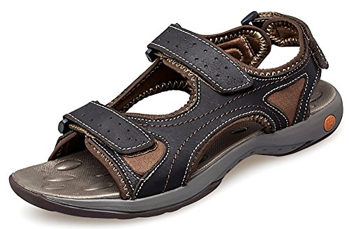 Odema Mens Summer Leather Open-toed Strap Outdoor Athletic Sport Sandals