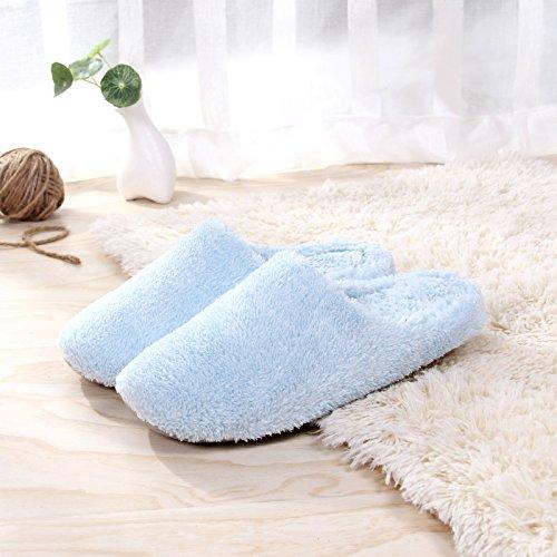 Fankou autunno caldo inverno uomini e donne matura home soggiorno con un pantofole di cotone felpato interno pavimenti in legno di spessore soggiorno ,M (35-38), il cielo blu