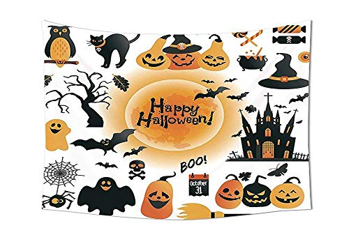 Wecottkerc Halloween Decorations Tapestry Wall Hanging Pattern of All Hallows Day Objects Haunted House Owl and Trick or Treat Candy Living Room Bedroom Dorm Wall Tapestry