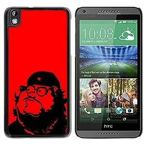 KOKO CASE / HTC DESIRE 816 / che guevara parodia arte comunismo estrella roja / Delgado Negro Plástico caso cubierta Shell Armor Funda Case Cover