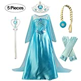 Kuzhi Princess Elsa Anna Cosplay Costume with Crown Wand Gloves and Wig (S)