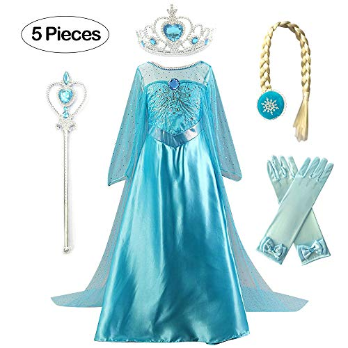 Kuzhi Princess Elsa Anna Cosplay Costume with Crown Wand Gloves and Wig (L)