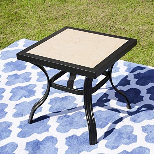 LOKATSE HOME 21 Outdoor Square Patio Dining Table Metal Steel Legs with Ceramics Top, Black