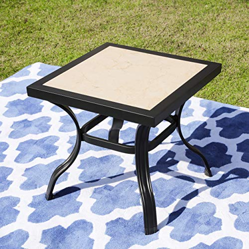 LOKATSE HOME Outdoor Patio Bistro Square End Table Dining Tile Top Metal Legs, Small