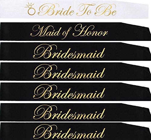21 PIECE BACHELORETTE PARTY SASH SET:Bride to be sash,Maid of honor sash,5 Bridesmaid sash/ Team Bride free Bride/Bride tribe tattoos,7 gold pins for Bridal shower, ,Engagement party favors &supplies -