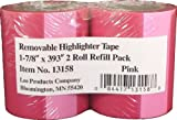Lee Removable Highlighter Tape, Pink, 1-7/8'' Wide x 393'' Long, 2-Roll Refill Pack (13158)