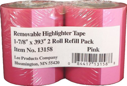 Lee Removable Highlighter Tape, Pink, 1-7/8'' Wide x 393'' Long, 2-Roll Refill Pack (13158) by Lee Products Co. (Image #1)