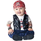 Printed do-rag cap, and jumpsuit with biker jacket print and attached mesh tattoo sleeves.