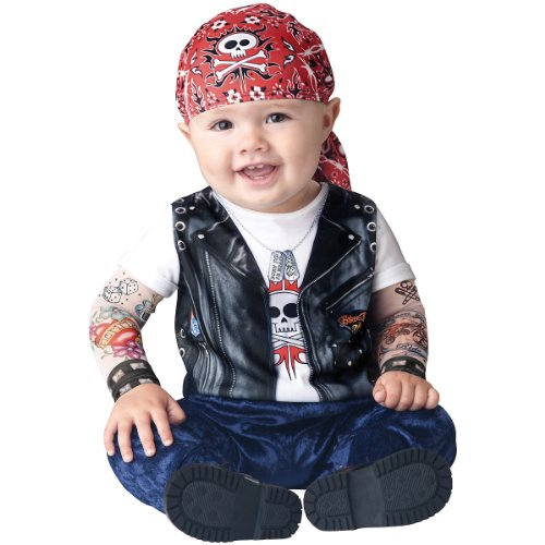 Female Biker Costumes - InCharacter Baby Boy's Born To Be Wild Biker Costume, Black/Red, Medium