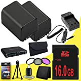 TWO BP-819 Lithium Ion Replacement Battery w/External Rapid Charger + 16GB SDHC Class 10 Memory Card + 37mm 3 Piece Filter Kit + Memory Card Reader + Memory Card Wallet + Deluxe Starter Kit for Canon Vixia HFM30 HFM31 HFM300 HF10 HF100 HF11 HF20 HF200 HG2
