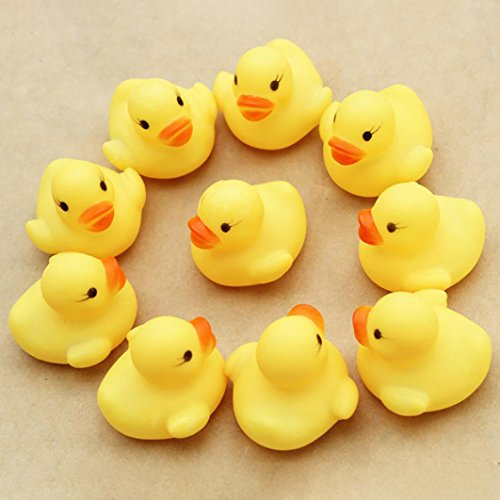 Livoty 10PC Squeezing Call Rubber Duck Ducky Duckie Baby Shower Birthday Favors (yellow)