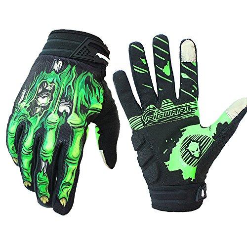 Brosaur Mountain bike riding gloves gloves riding gloves motorcycle gloves full finger touch screen gloves for men and women exercise skeleton gloves (green, L)