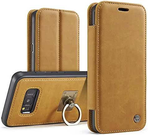 Phone Case with Ring Stand Wrist Strap Genuine Leather Wallet Phone Case for iPhone Samsung Galaxy