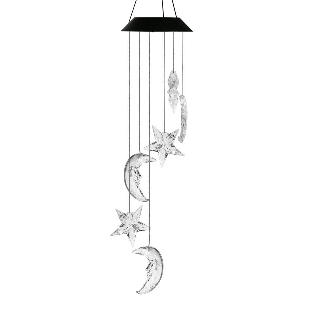 Best Horse Color-Changing Led Solar Mobile Wind Chime, Solar Powered LED Hanging Lamp Wind Chime Light for Outdoor Indoor Gardening Lighting Decoration Home (Clear Star & Moon)