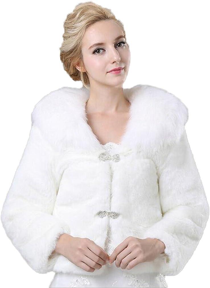 Kelaixiang Womens White Faux Fur Coats for Wedding Party Winter Outwear