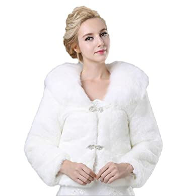 a1e59fb2d Image Unavailable. Image not available for. Color: Women's White Faux Fur  Coats for Wedding Party Winter Outwear