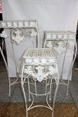(Antique Roman Style White Stand Planter, Shabby Chic, Art Deco in Wrought Iron, Set of 3 …)