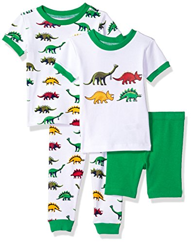 Little Me Baby 4 Piece Cotton Pajamas, Dino, 4T (Cotton Pajamas Me Little)