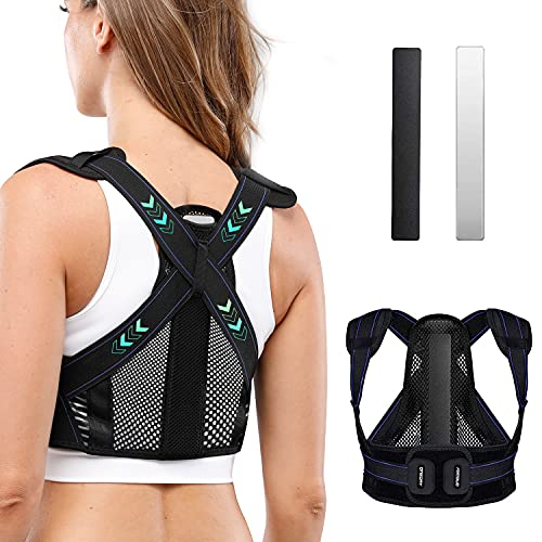 oneday Posture Corrector Back Brace for Men and Women, Adjustable Back Brace Straightener with 2 Replaceable Support Plates, Professional Breathable Back Support for Back, Neck and Shoulder Pain Relief, Black(Small)