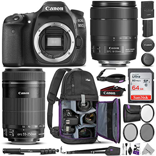 Canon EOS 80D DSLR Camera with EF-S 18-135mm f/3.5-5.6 is USM + EF-S 55-250mm f/4-5.6 is STM Lens w/Advanced Photo & Travel Bundle