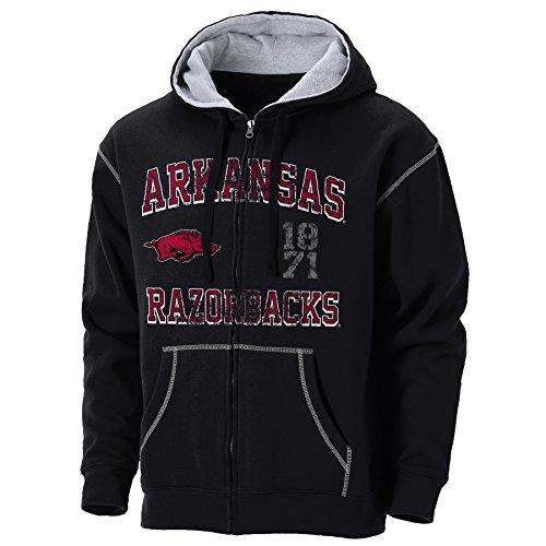 Ouray Sportswear NCAA Arkansas Razorbacks Mens NCAA University of Arkansas Colorblast Full Zip Hood, black/Oxford, - Full Zip University Hoodie