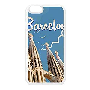 Barcelona White Silicon Rubber Case for iPhone 6 by Nick Greenaway + FREE Crystal Clear Screen Protector