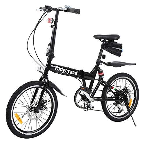MuGuang vouwbare fiets 20 inch 7 versnellingen vouwmachine + LED-batterij lamp + zittas + fietsbel (zwart)
