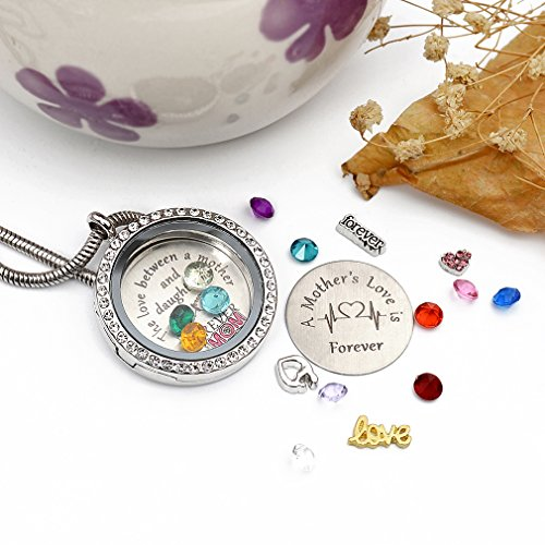 Beffy Daughter or Mom Love Gift, Memory Floating Locket Pendant Necklace with Birthstones & Charm for Morther Mom Mammy Mama or Girls by Beffy (Image #5)