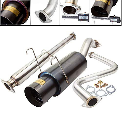 Fit 93-97 Honda Del Sol SOHC Engine ONLY 2.5 Inch Stainless Steel Catback Exhaust System 4.5 Inch Gun Metal Muffler Tip ()
