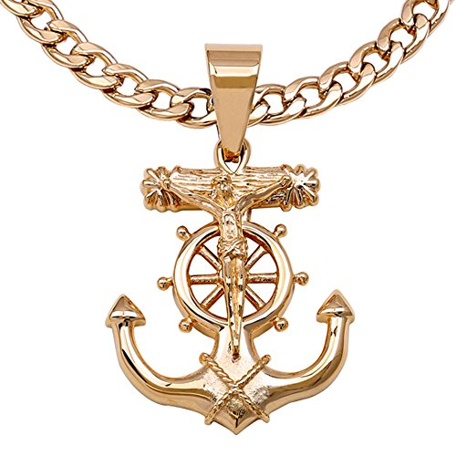 Jesus Cross Anchor (C08G-P37G Men's Stainless Steel Gold Anchor Jesus Cross Pendant 6mm Cuban Necklace Chain (22))