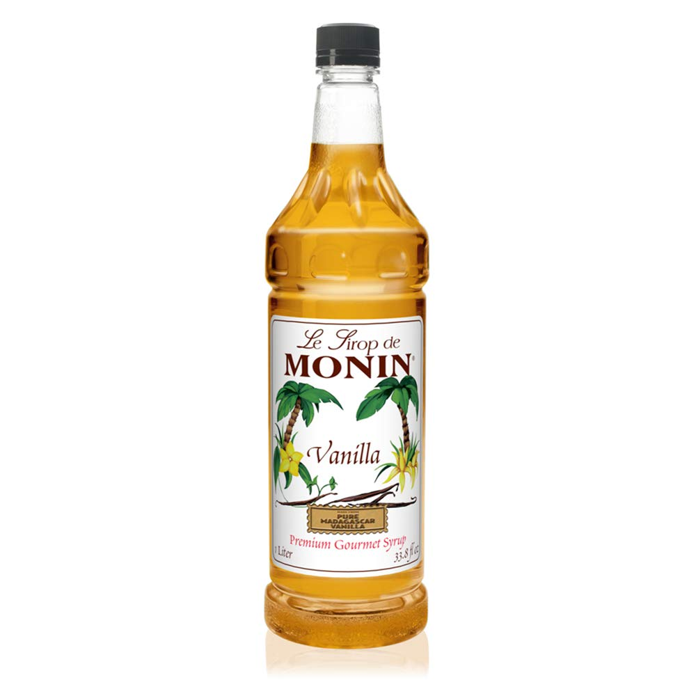 Monin - Vanilla Syrup, Versatile Flavor, Great for Coffee, Shakes, and Cocktails, Gluten-Free, Vegan, Non-GMO (1 Liter)