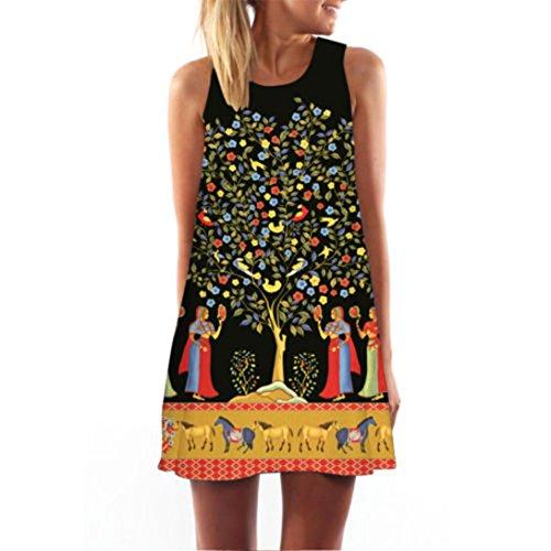 ZARUP-Vestir Vestido de mujer♥♥♥Zarupeng Vestido corto sin mangas con estampado de playa de verano de Boho para mujer sin mangas Amarillo
