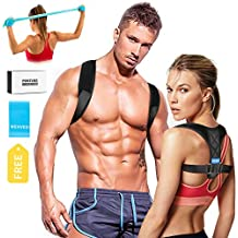 Upper Back Brace Posture Corrector for Women and Men, Shoulder Brace Clavicle Support Device, Adjustable Slouching Support - Posture Support - Kyphosis Brace - Muscle Pain Reliever&Size/L 40''-55''