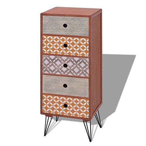 vidaXL Brown Chest Drawers Bedroom Dresser Tallboy Side Cabinet Highboy (Highboy Chest)