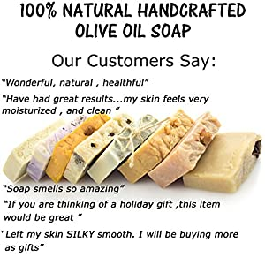Olive Oil Soap-Natural Gift Set-4pc Handmade Luxury Set-Great Gifts for Women-Men.Coffee Exfoliating Soap,Purifying Charcoal Soap,Rose Oil Moisturize Soap & Wood Soap Dish.Unique Gifts for him,her