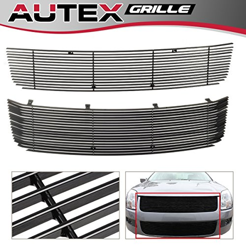 AUTEX Black Horizontal Billet Grill Insert Compatible With Ford Fusion 2006 2007 2008 2009 Grille Combo F87751H ()