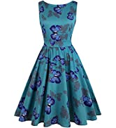 OWIN Women's Floral 1950s Vintage Swing Cocktail Party Dress Sleeveless…