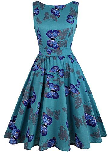 OWIN Women's 1950s Vintage Floral Swing Party Cocktail Dress Sleeveless