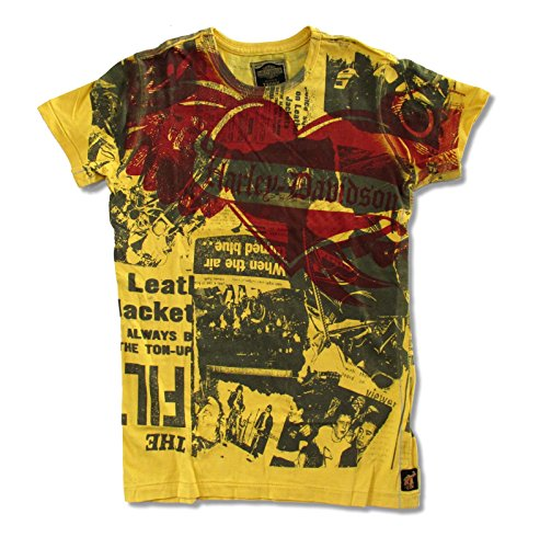 Real Designer Clothes (Ladies Trunk LTD Designer Harley Davidson Newsprint Yellow T-Shirt (Medium))