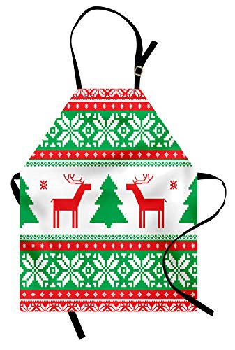 Ambesonne Christmas Apron, Knit Style Graphic Reindeer Figure Star and Snowflake Holiday Family Theme, Unisex Kitchen Bib Apron with Adjustable Neck for Cooking Baking Gardening, White Green