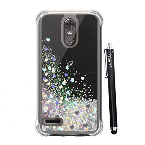 LG Stylo 3 Glitter Case, Cattech Liquid Bling Sparkle Shiny Moving Quicksand - Slim Clear TPU Bumper Protective Non-slip Grip Shockproof Cover for LG Stylo 3/Stylo 3 Plus/Stylus 3 + Stylus (Silver)
