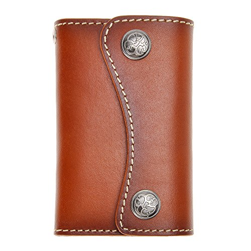 Genuine Leather 6 Hook Key Holder Wallet Pouch Case Button Closure for Mens Womens by ZLYC with Card Holder, (6 Key Holder Wallet)